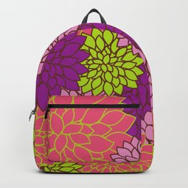Dahlia Flowers, Blossoms - Pink Purple Green Backpack