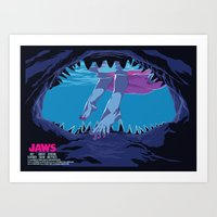 jaws Art Prints featuring JAWS by Mike Wrobel