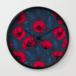 Red poppies and ladybugs on dark blue Wall Clock