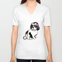 shih tzu V-neck T-shirts featuring Shih Tzu Puppy  by Artist Abigail