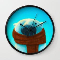 Polar bear with scarf Wall Clock
