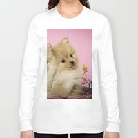 pomeranian Long Sleeve T-shirts featuring Pink Pomeranian Brothers by We Speak Puppy