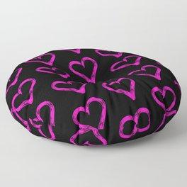 Pink hearts pattern 02 black Floor Pillow
