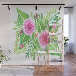 Spring Floral Pink Roses Green Leaves Watercolor Wall Mural