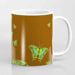 GREEN-YELLOW MOTHS ON COFFEE BROWN Coffee Mug