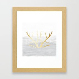 368 6 Gold Antlers on White and Gray Framed Art Print