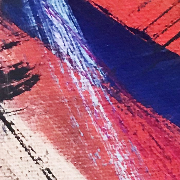 Los Angeles: A vibrant, abstract piece in reds and blues by Alyssa Hamilton Art Leggings