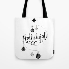 """Hand Written Holiday Themed """"Hallelujah"""" Tote Bag"""