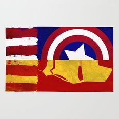Civil War: Cap V Ironman Abstract Paint Rug