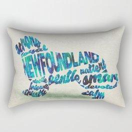 Newfoundland Dog Typography Art / Watercolor Painting Rectangular Pillow