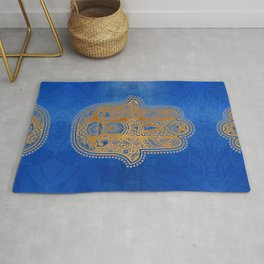 Elegance Hamsa Hand Metallic Gold Royal Blue Rug