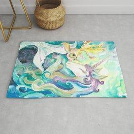 Kelpie unicorn and goldfish Rug