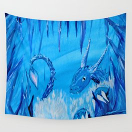 Ice Cavern Dragon Wall Tapestry