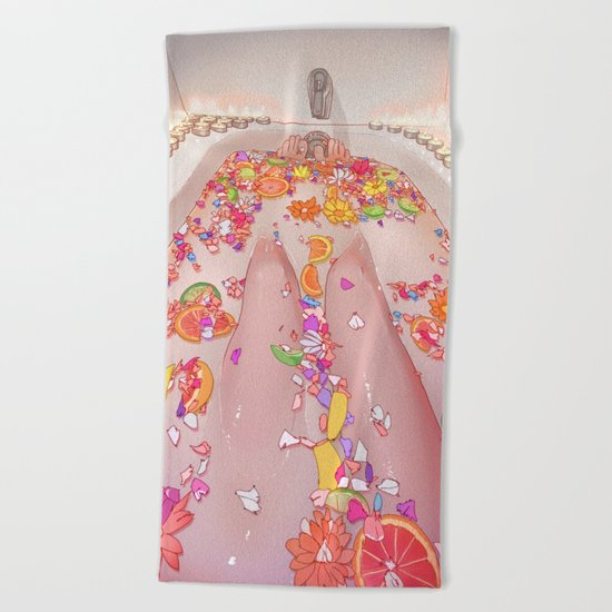 Flower Bath 7 Beach Towel