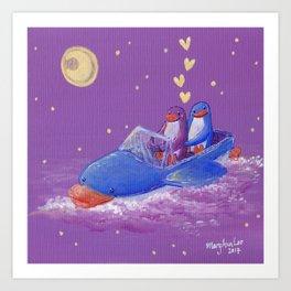 Penguin couple sail the starry sky ocean on a penguin boat adventure! Art Print
