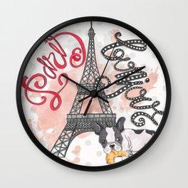 Paris Bonjour Wall Clock