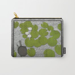 Water lilies with Florida Soft-shell Turtle Carry-All Pouch