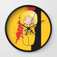 kill bill Wall Clocks featuring Kokeshi Beatrix of Kill Bill by Pendientera