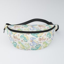 Watercolor Dinosaurs Hand Drawn Illustration Pattern Fanny Pack