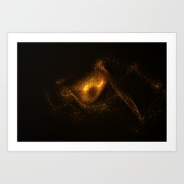Abstract orange glowing particles Art Print