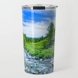 The Altai landscape with mountain river and green rocks, Siberia, Altai Republic, Russia Travel Mug