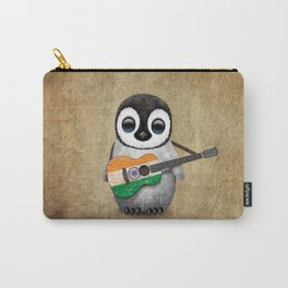 Baby Penguin Playing Indian Flag Acoustic Guitar Carry-All Pouch