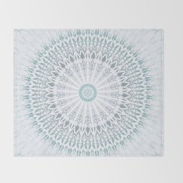 Teal Aqua Mandala Throw Blanket