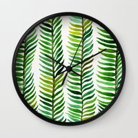 gold Wall Clocks featuring Seaweed by Cat Coquillette