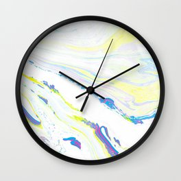 Blue & Yellow Marbling Wall Clock