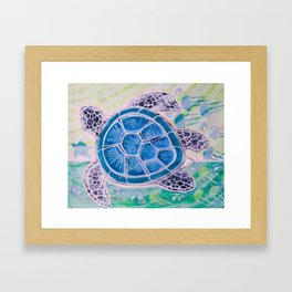 Sea Turtle Geodes Framed Art Print