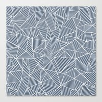 Ab Lines Navy and White Canvas Print