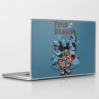 dungeons and dragons Laptop & iPad Skins featuring PIPES & DRAGONS by Adams Pinto