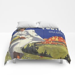 Vintage Italian Alps Cortina summer travel Comforters