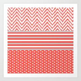 Ikat Coral Chevron Art Print