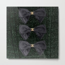coco vintage bow forest green Metal Print