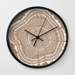 Tree Rings – White Ink on Kraft Wall Clock