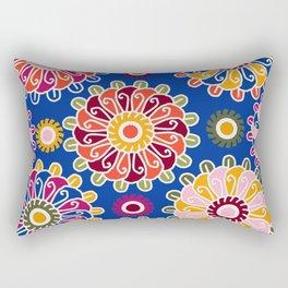 Optical Floral royal blue Rectangular Pillow