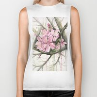 cherry blossom Biker Tanks featuring Cherry Blossom by Olechka