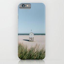 White tiny beach house || Travel Photography || Pastel landscape colours sea ocean minimalistic iPhone Case