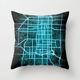 Springfield, MO, USA, Blue, White, Neon, Glow, City, Map Throw Pillow