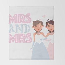 Mrs and Mrs lesbian gay wedding Throw Blanket