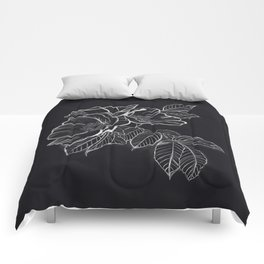 Chalked Roses - Black and White Modern Florals Comforters