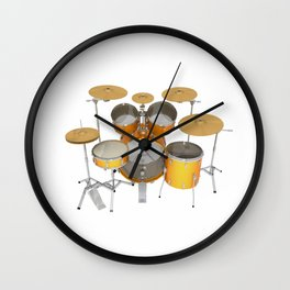 Yellow Drum Kit Wall Clock