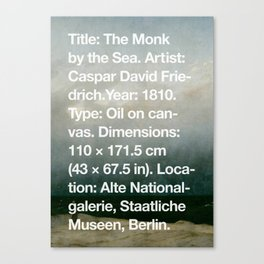 The Monk by the Sea, Caspar David Friedrich, 1810, Alte Nationalgalerie, Berlin Canvas Print