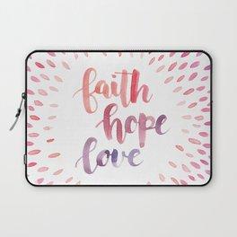 Faith Hope Love. Watercolor lettering. Ombre starburst. Laptop Sleeve