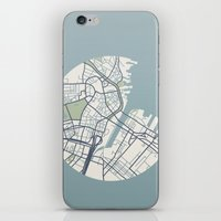 boston map iPhone & iPod Skins featuring Boston Map 2 by Sophie Calhoun
