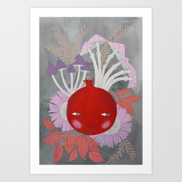 pomegranate with mushrooms and flowers on grey watercolor illustration Art Print
