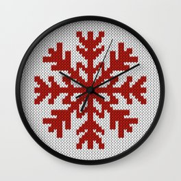 Knitted Christmas decoration red snowflake on white Wall Clock
