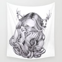 sister Wall Tapestries featuring Begonia's Sister by April Alayne