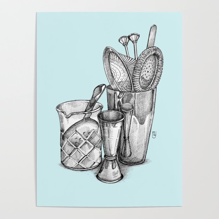 Bartender in turquoise Poster